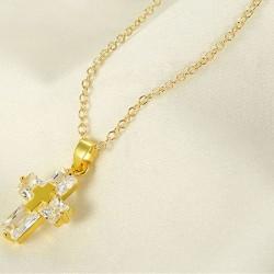 Double cross necklace - gold - women