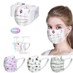 50 pièces - masque médical antibactérien jetable - masque buccal - 3 couches - unisexe