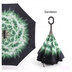 Reversible umbrella - anti-UV - folding - double layer - C-type handle