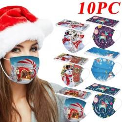10 pièces - masque médical antibactérien jetable - masque buccal - 3 couches - unisexe - imprimé de Noël