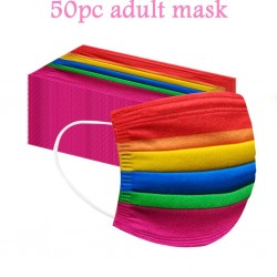 50 pieces - disposable antibacterial face mask - mouth mask - 3-layer - unisex - rainbow pattern
