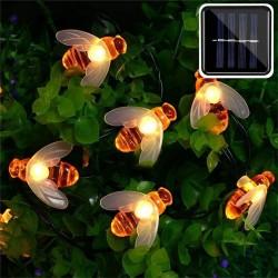 Solar powered - LED string - garland light - outdoor / garden decoration - honey bee