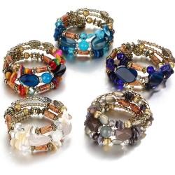Bracelet multicouche avec pierres en résine - vintage - bracelet ethnique