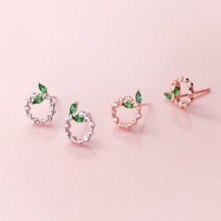 Petits cercles et feuilles - Boucles d'oreilles or rose / argent - Argent sterling 925