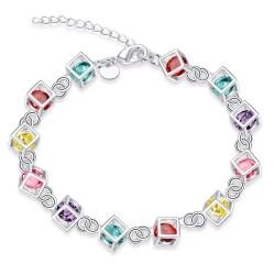 Bracelet cubes multicolores - Argent 925