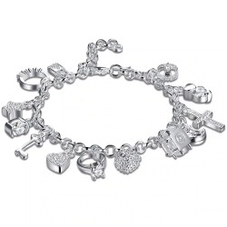 Elegant bracelet with 13 charms - 925 sterling silver