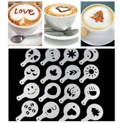 Stencils for cappuccino - latte - coffee - barista - templates - 16 pieces