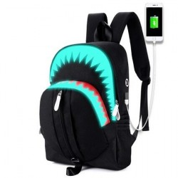USB Charging Night Luminous Backpack Shark Laptop
