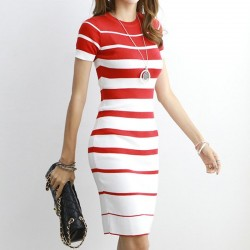Striped Knitted Dresses - Office - Elegant - Red - Black