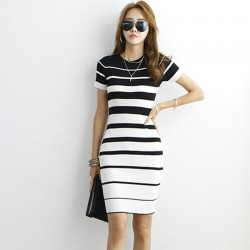 Striped Knitted Dresses - Office - Elegant - Red - Black