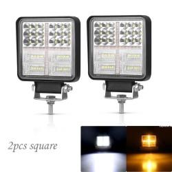 126W Car Light Assembly - 3000K - LED - Work Light Bar - Vehicles - Square - Round