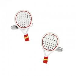 Tennis rackets - white & red cufflinks