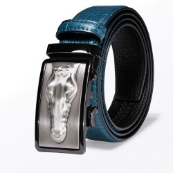 Crocodile skin design - leather belt with automatic buckle - blue