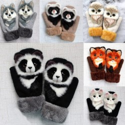 Kids winter mittens with cartoon animals - soft gloves