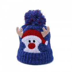 Ciepła zimowa czapka dziecięca z pomponem - Święty Mikołaj - Rogi Renifera