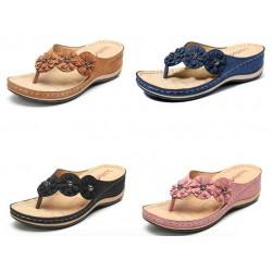 Sandales d'été à fleurs décoratives - tongs style ethnique
