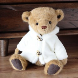 Plush teddy bear with white coat - toy