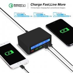 USB - 40W - 3.0 Schnellladegerät - LED-Display - Ladestation mit 5 Anschlüssen