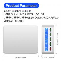 USB - 40W - 3.0 snellader - Led display - 5-poorts laadstation