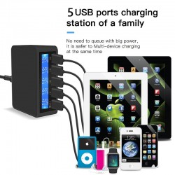 USB quick charger - 5-port - led display - quick charge 3.0 - charging station