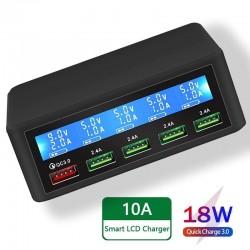 USB - 40W - 3.0 szybka ładowarka - wyświetlacz LED - 5-portowa stacja ładująca