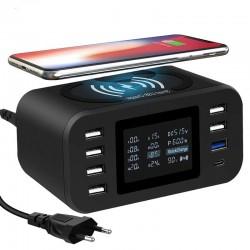 Bezprzewodowa ładowarka Qi - szybkie ładowanie 3.0 - 60W - 8 portów USB - stacja ładująca
