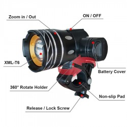 Bicycle Light - 800 Lumen - T6 - Bike Headlight - USB Rechargeable