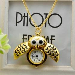 Vintage - Watch Owl - Pendant Necklace