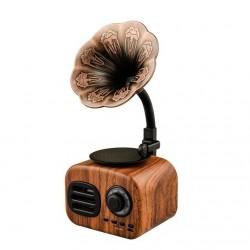 Projekt gramofonu w stylu vintage - drewno retro - przenośny - mini głośnik Bluetooth - radio