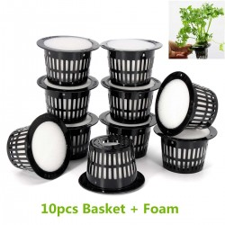Mesh pot - basket - for hydroponic system plant / vegetable grow - with foam insert - 10 pieces