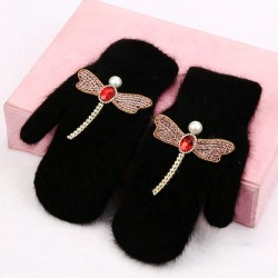 Warm elegant gloves - one finger - with crystals - mouse - dragonfly