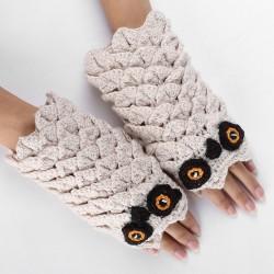 Warm knitted gloves - fingerless - owl design