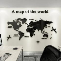 Mapa świata 3D - akrylowa naklejka ścienna