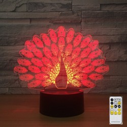 Peacock Lamp - Colorful - 3D Light - Remote Control