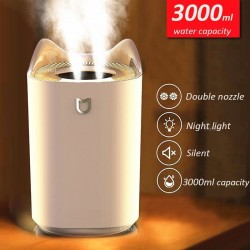 Air Humidifier - 3000ML - Double Nozzle - Cool Mist - Colorful LED