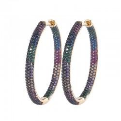 Rainbow hoop earrings - cubic zirconia