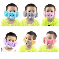 2 w 1 - nauszniki / maska na twarz dla dzieci - pluszowy miś