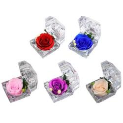 Zakonserwowana świeża róża - kryształowe pudełko na biżuterię - ślub - Walentynki