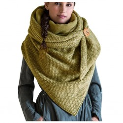 Multi-function thick shawl with button closure