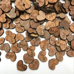 Mini drewniane serduszka miłosne - dekoracja - 100 sztuk