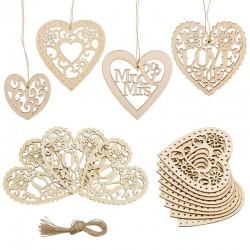 Drewniana ozdoba ślubna - wycinane laserowo serce miłości - wisząca ozdoba - rustykalna dekoracja ślubna
