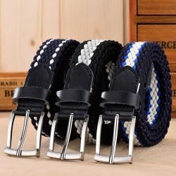 Elastic leather belt for men
