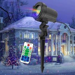 Ruchome statyczne czerwone / zielone / niebieskie kropki / gwiazdki - Świąteczne światło laserowe - projektor - wodoodporny