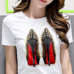 High heeled shoes - printed t-shirt