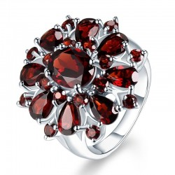 Ruby amethyst ring - 925 sterling silver
