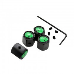 Stainless steel car wheel valve caps - green aliens - 4 pieces