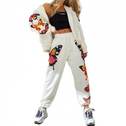 Fashionable tracksuit with butterflies - hoodie & pants - set