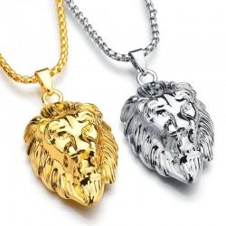Lion's head pendant - gold necklace