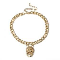 Hip-hop short chain with lion's head - gold necklace