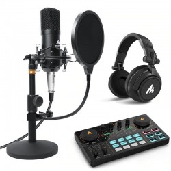 Podcast kit - microphone - headphones - mixer - 3.5mm jack - for PC - laptop